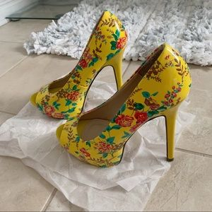 New Floral Yellow Stiletto Heel